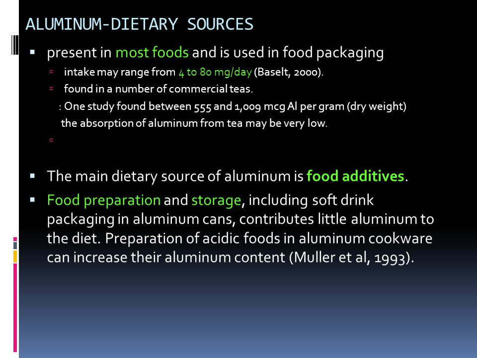ALUMINUM-DIETARY SOURCES