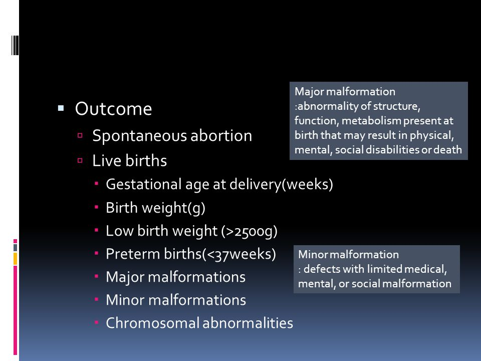 Outcome Spontaneous abortion Live births