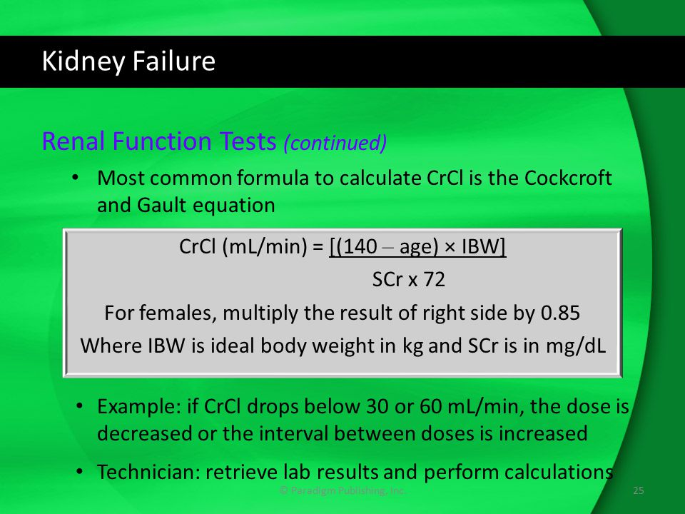 Kidney Failure Renal Function Tests (continued)