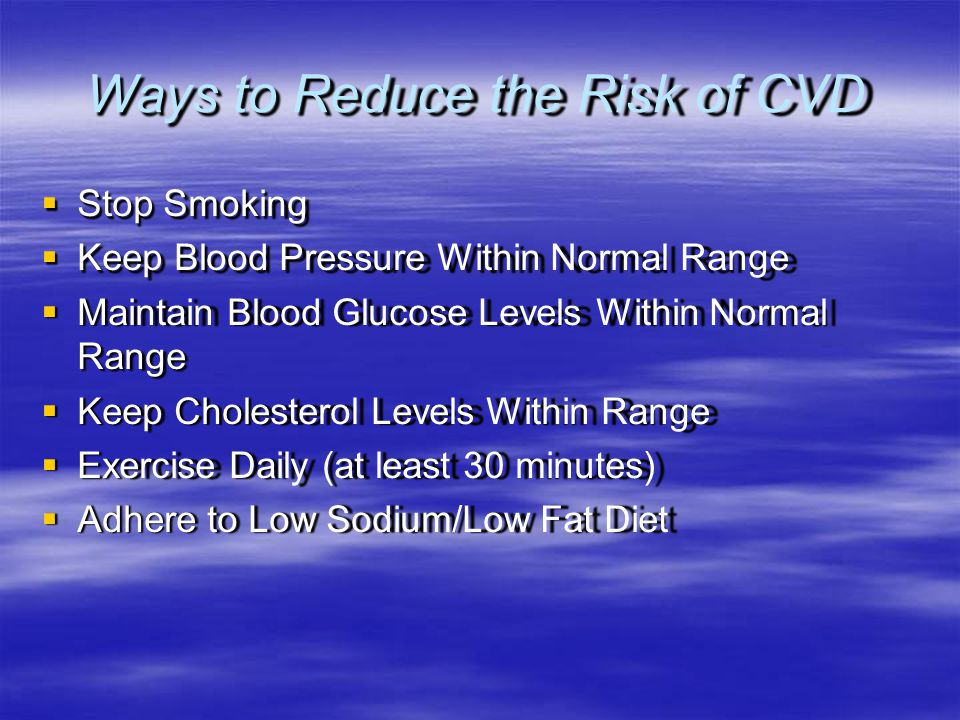 Ways to Reduce the Risk of CVD
