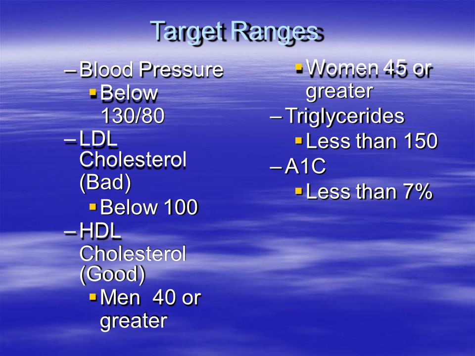 Target Ranges Blood Pressure  Below 130/80 LDL Cholesterol (Bad)