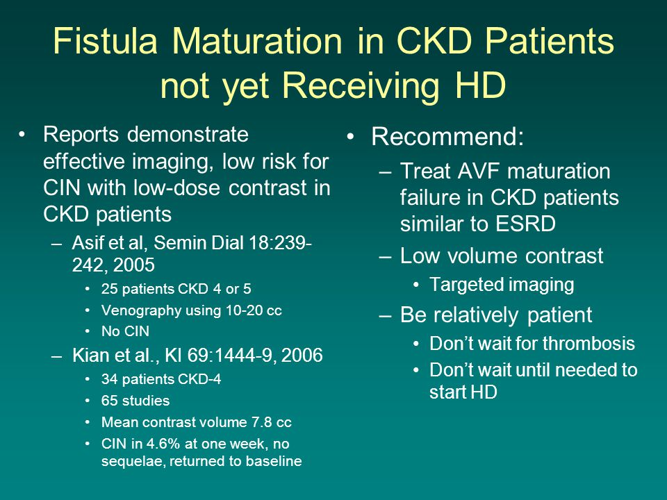 Fistula Maturation in CKD Patients not yet Receiving HD
