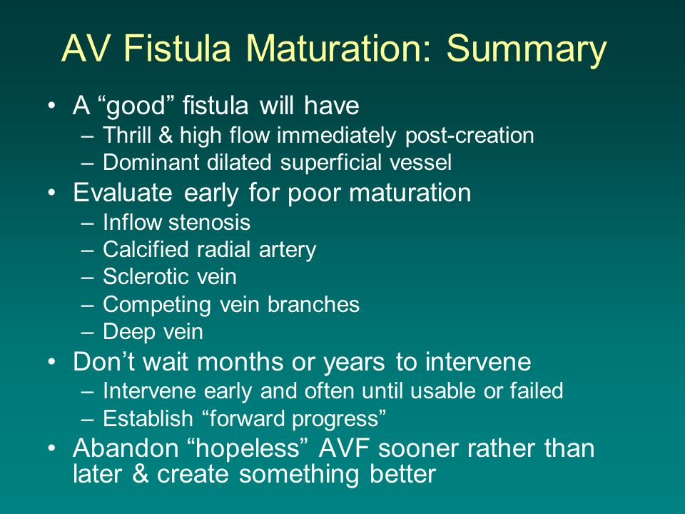 AV Fistula Maturation: Summary