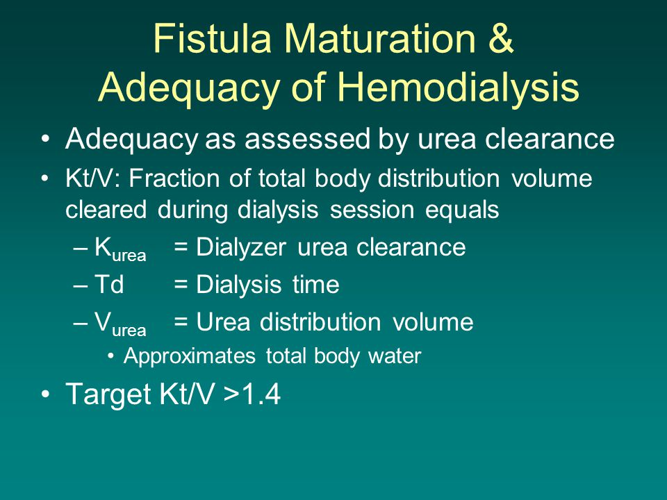 Fistula Maturation & Adequacy of Hemodialysis