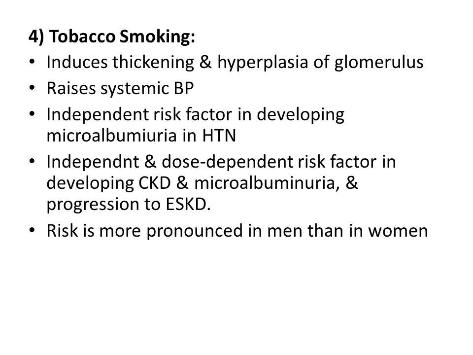 4) Tobacco Smoking: Induces thickening & hyperplasia of glomerulus. Raises systemic BP.