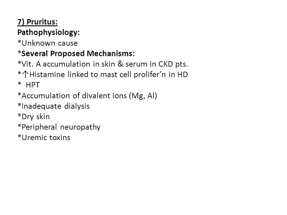7) Pruritus: Pathophysiology:. Unknown cause