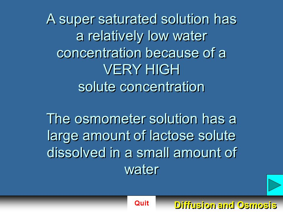 A super saturated solution has a relatively low water concentration because of a VERY HIGH solute concentration
