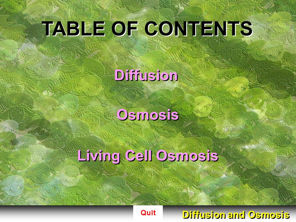 TABLE OF CONTENTS Diffusion Osmosis Living Cell Osmosis