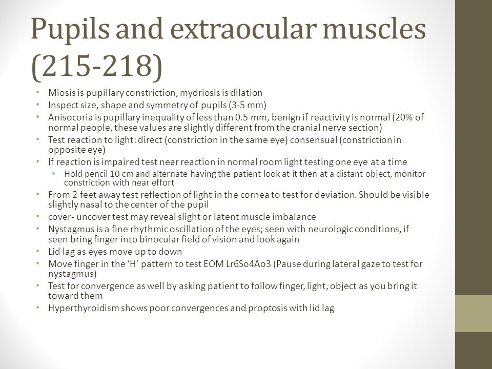Pupils and extraocular muscles (215-218)