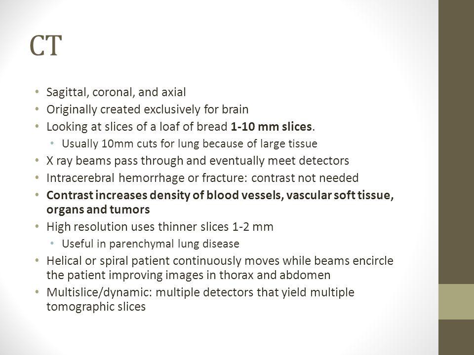 CT Sagittal, coronal, and axial