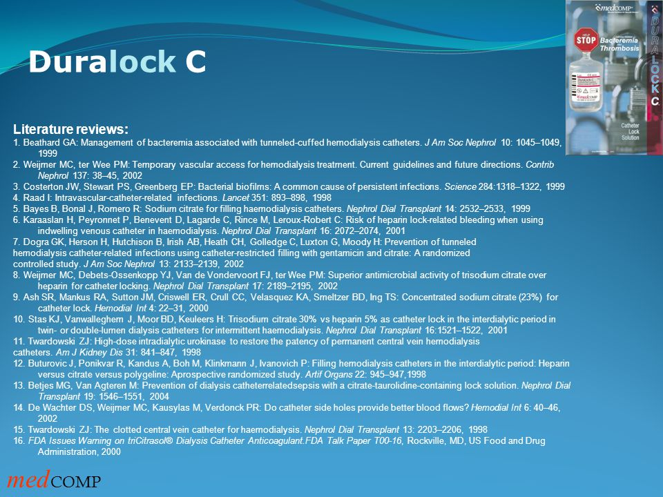 Duralock C medCOMP Literature reviews: 51