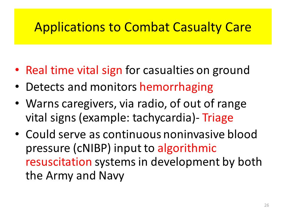 Applications to Combat Casualty Care