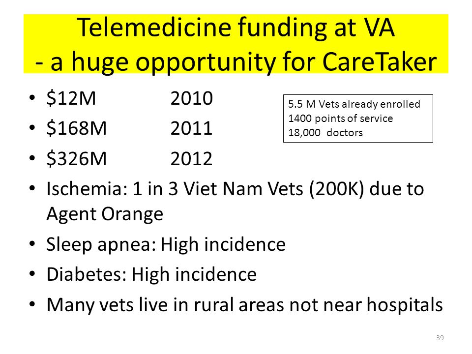Telemedicine funding at VA - a huge opportunity for CareTaker