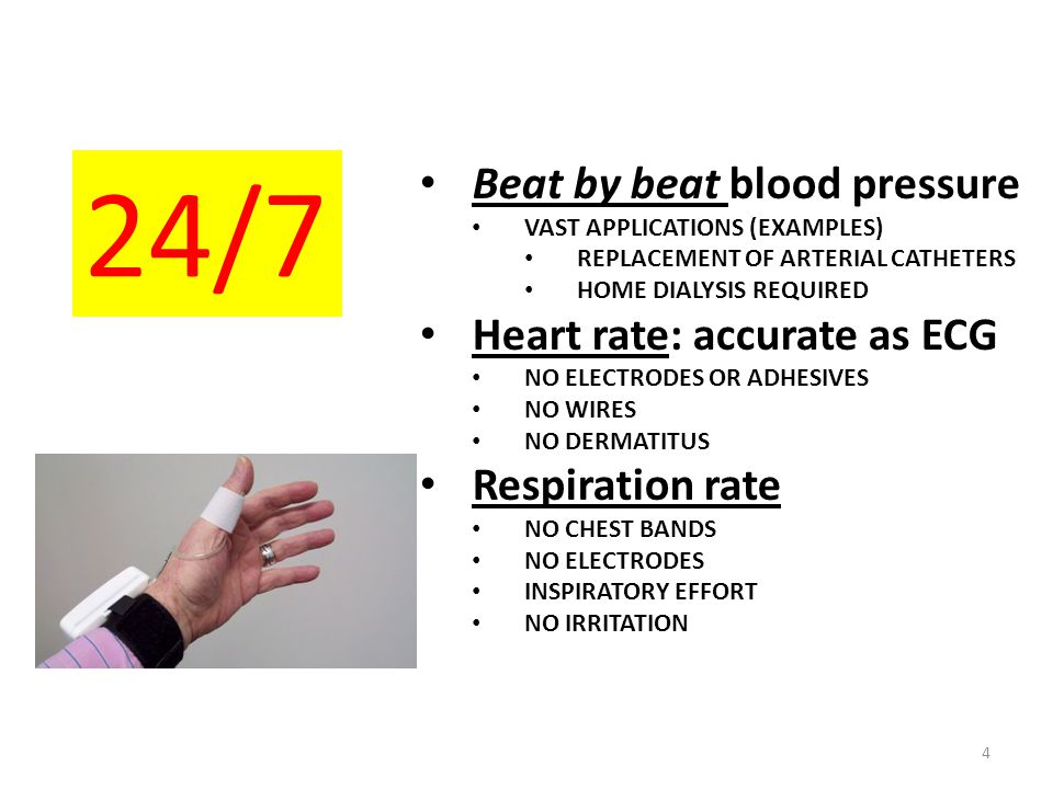 24/7 Beat by beat blood pressure Heart rate: accurate as ECG
