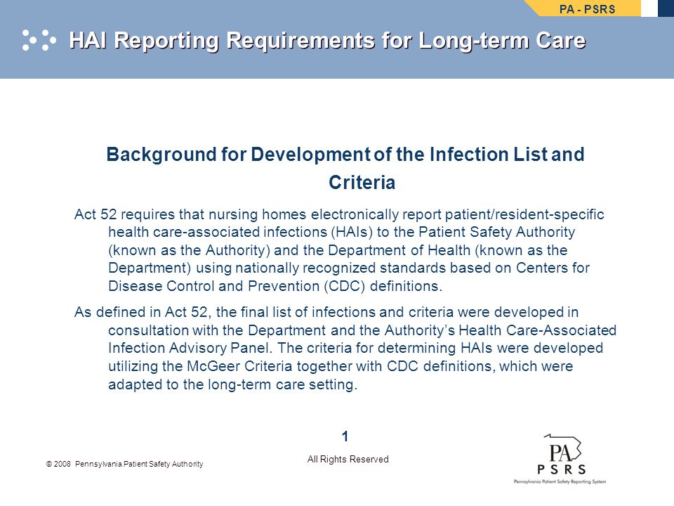 HAI Reporting Requirements for Long-term Care