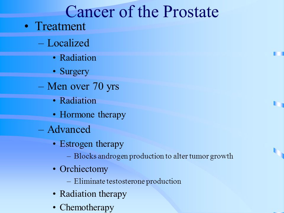 Cancer of the Prostate Treatment Localized Men over 70 yrs Advanced