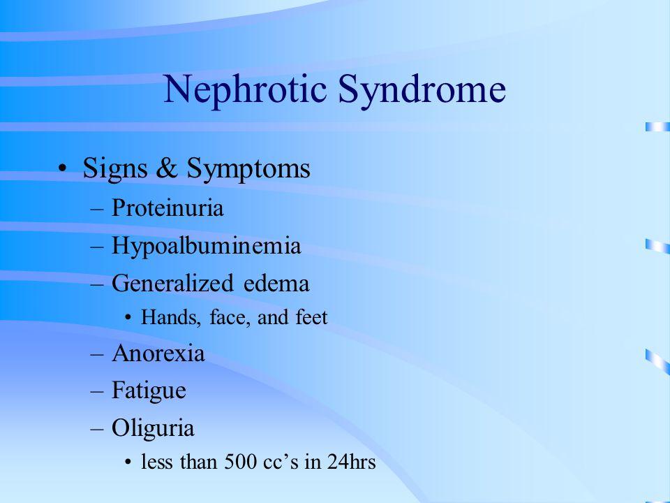 Nephrotic Syndrome Signs & Symptoms Proteinuria Hypoalbuminemia