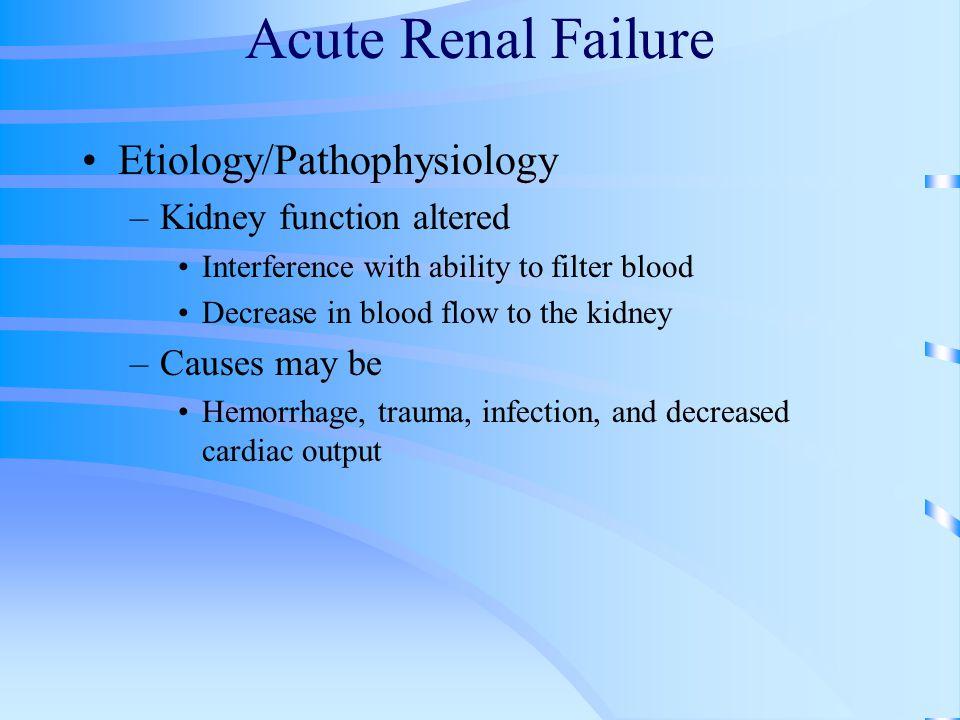 Acute Renal Failure Etiology/Pathophysiology Kidney function altered