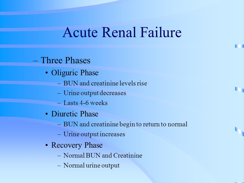 Acute Renal Failure Three Phases Oliguric Phase Diuretic Phase