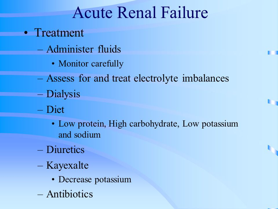 Acute Renal Failure Treatment Administer fluids