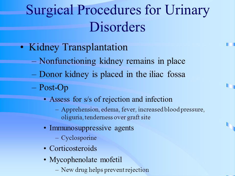 Surgical Procedures for Urinary Disorders