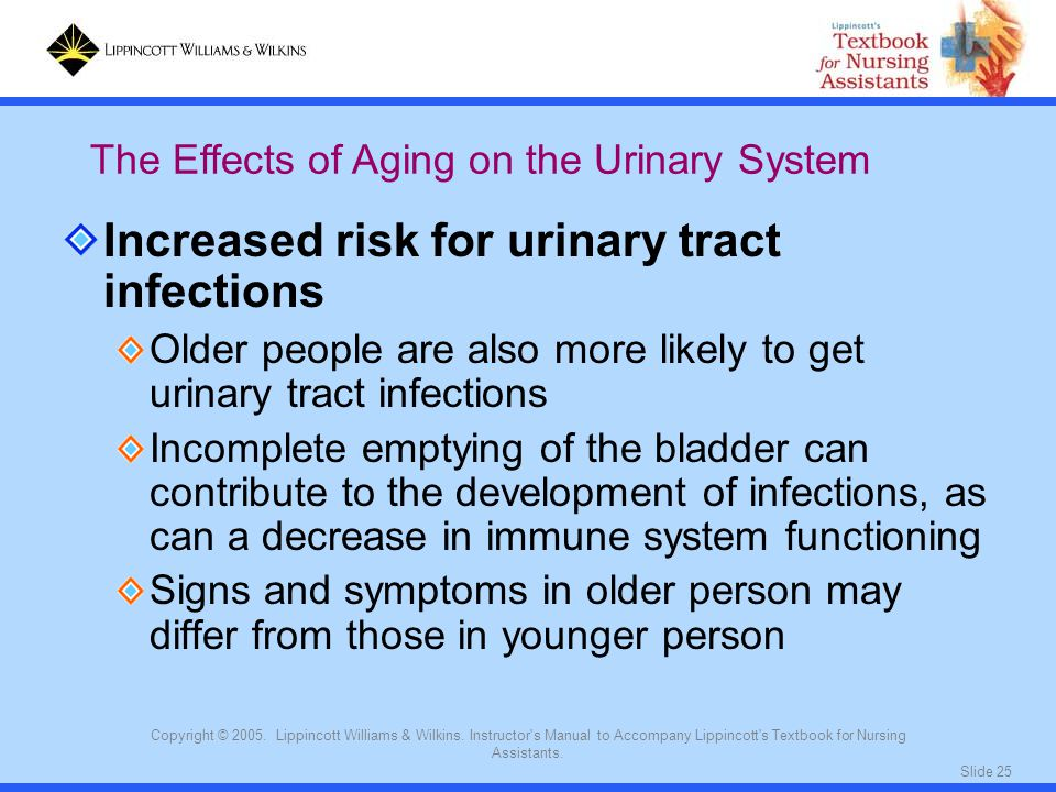 Increased risk for urinary tract infections