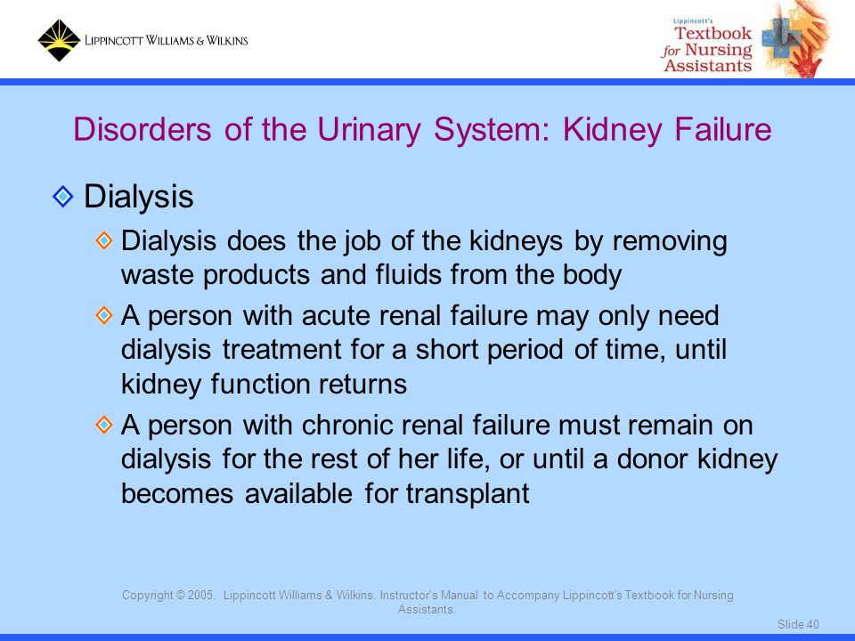 Disorders of the Urinary System: Kidney Failure