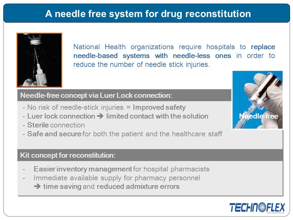 A needle free system for drug reconstitution