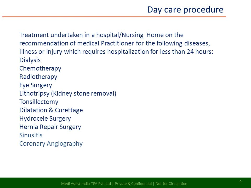 Day care procedure