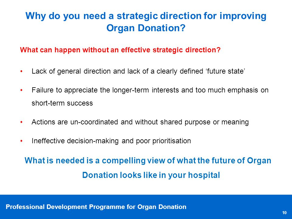 Why do you need a strategic direction for improving Organ Donation