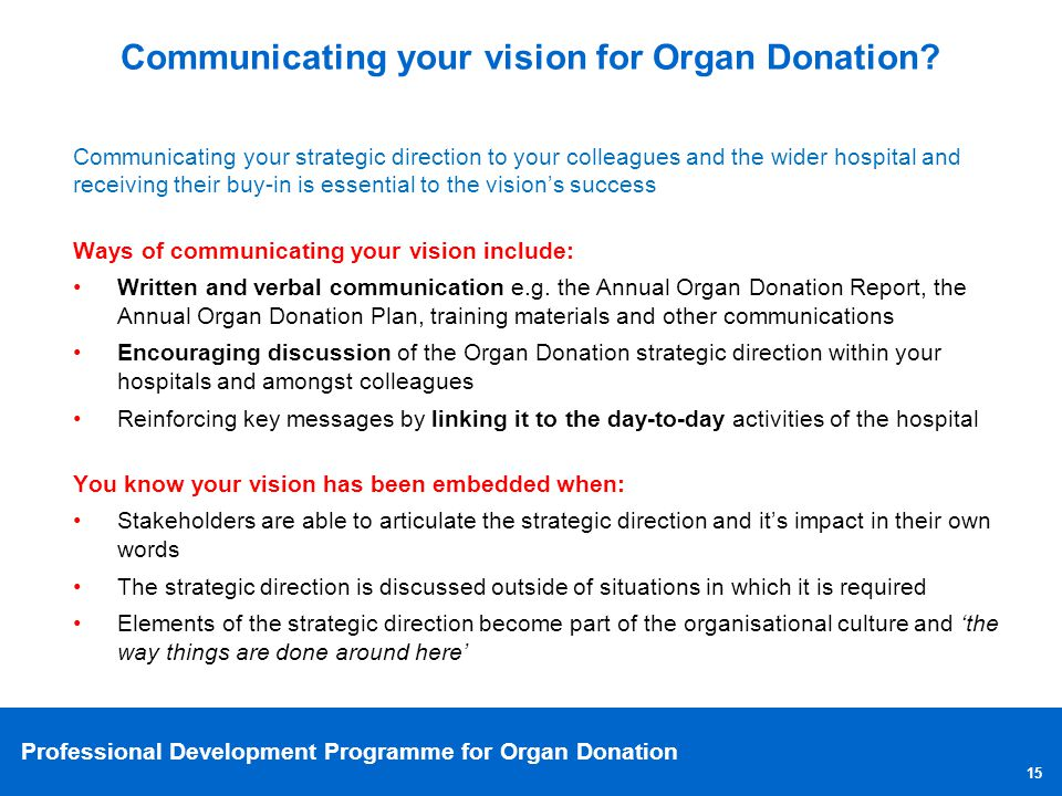 Communicating your vision for Organ Donation