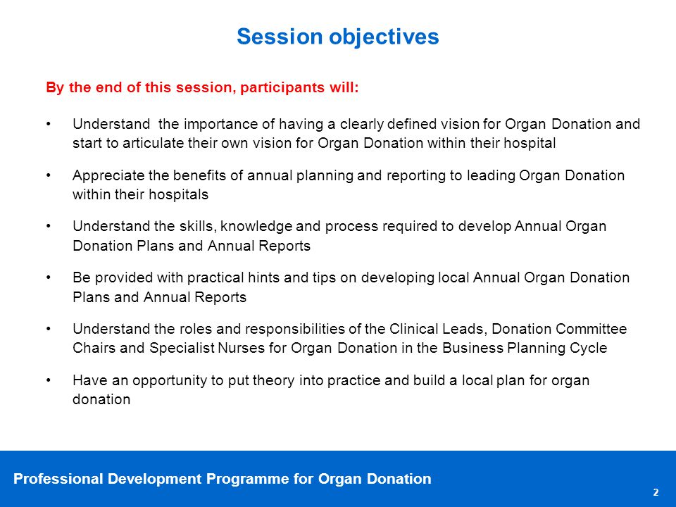 Session objectives By the end of this session, participants will: