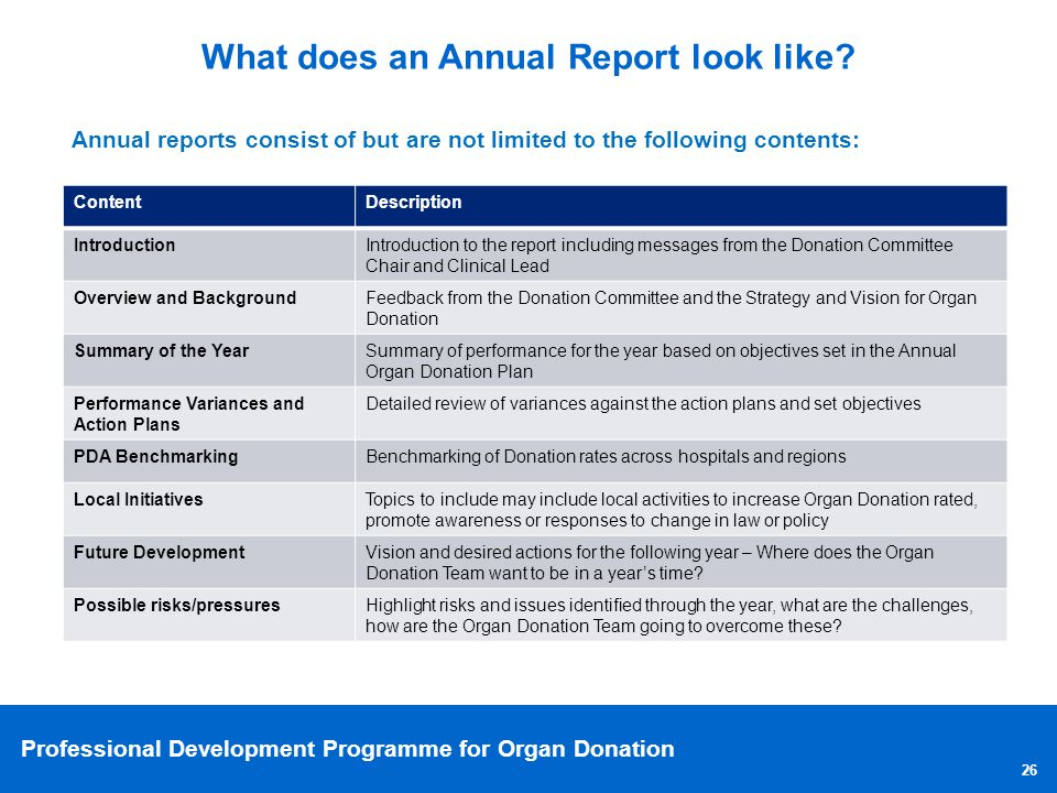 What does an Annual Report look like