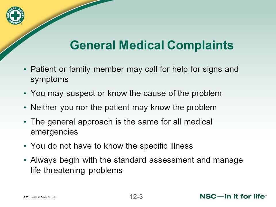 General Medical Complaints