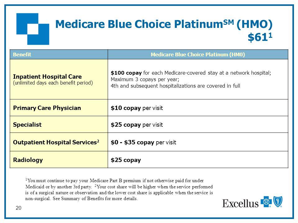 Medicare Blue Choice PlatinumSM (HMO) $611