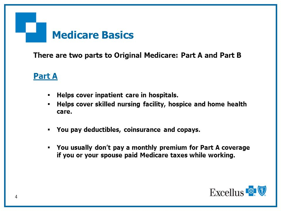 Medicare Basics There are two parts to Original Medicare: Part A and Part B. Part A. Helps cover inpatient care in hospitals.
