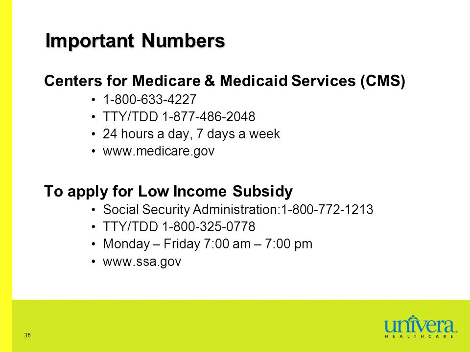Important Numbers Centers for Medicare & Medicaid Services (CMS)
