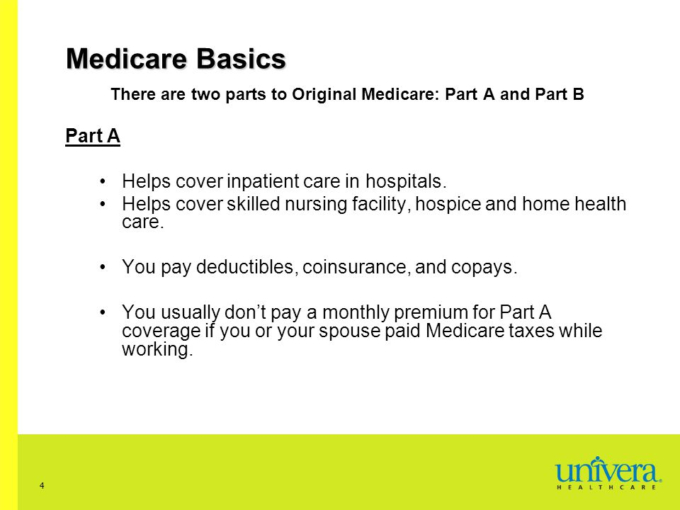 There are two parts to Original Medicare: Part A and Part B