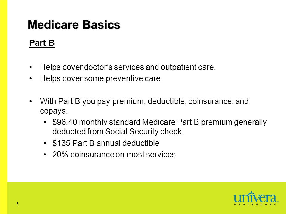 Medicare Basics Part B. Helps cover doctor's services and outpatient care. Helps cover some preventive care.