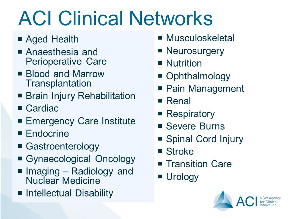 ACI Clinical Networks Aged Health Musculoskeletal
