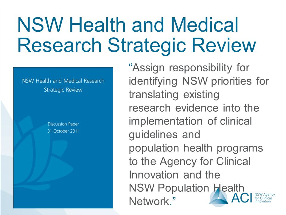 NSW Health and Medical Research Strategic Review