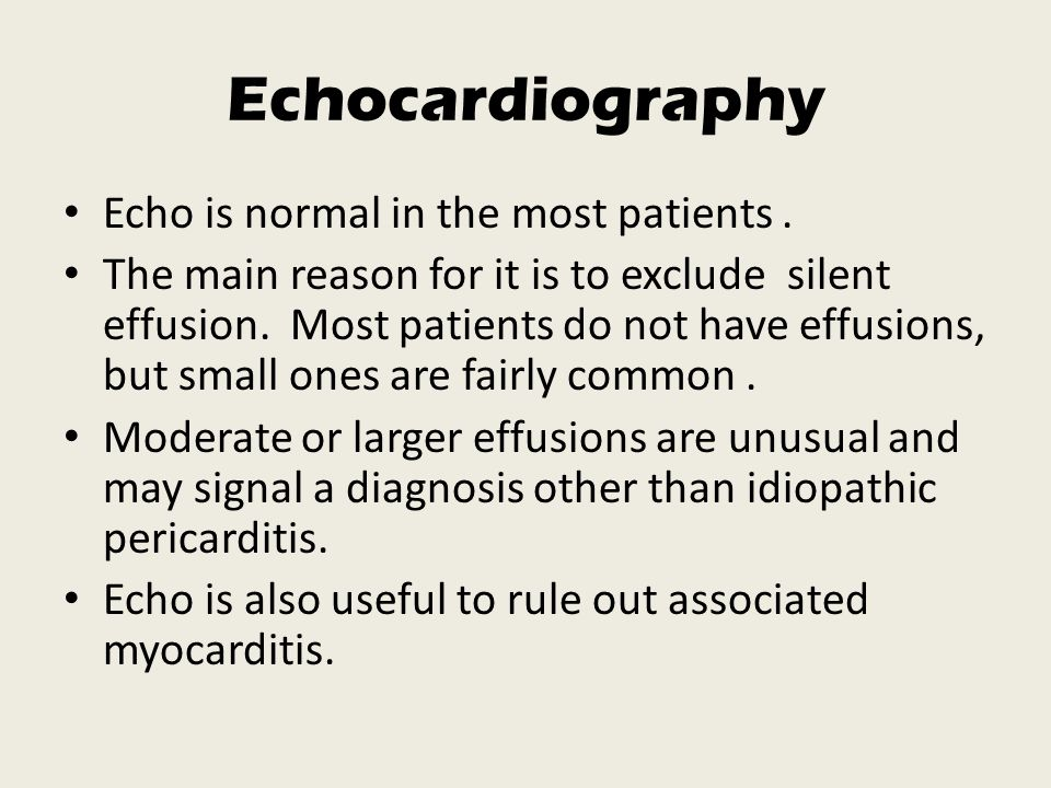 Echocardiography Echo is normal in the most patients .