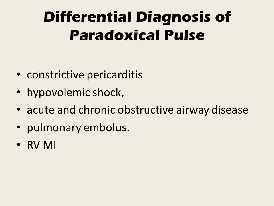 Differential Diagnosis of Paradoxical Pulse
