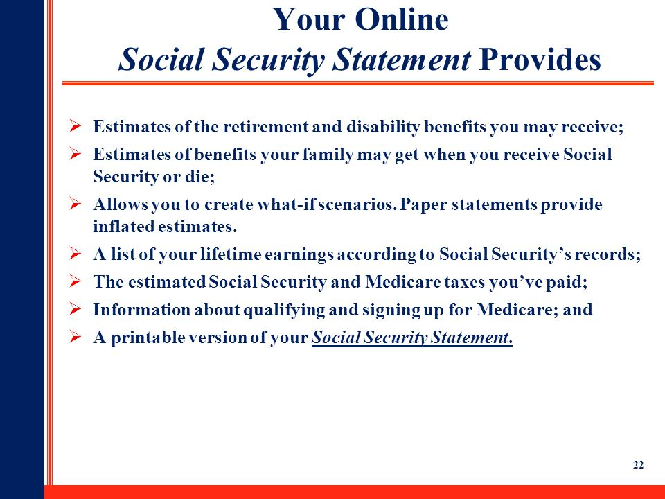 Your Online Social Security Statement Provides