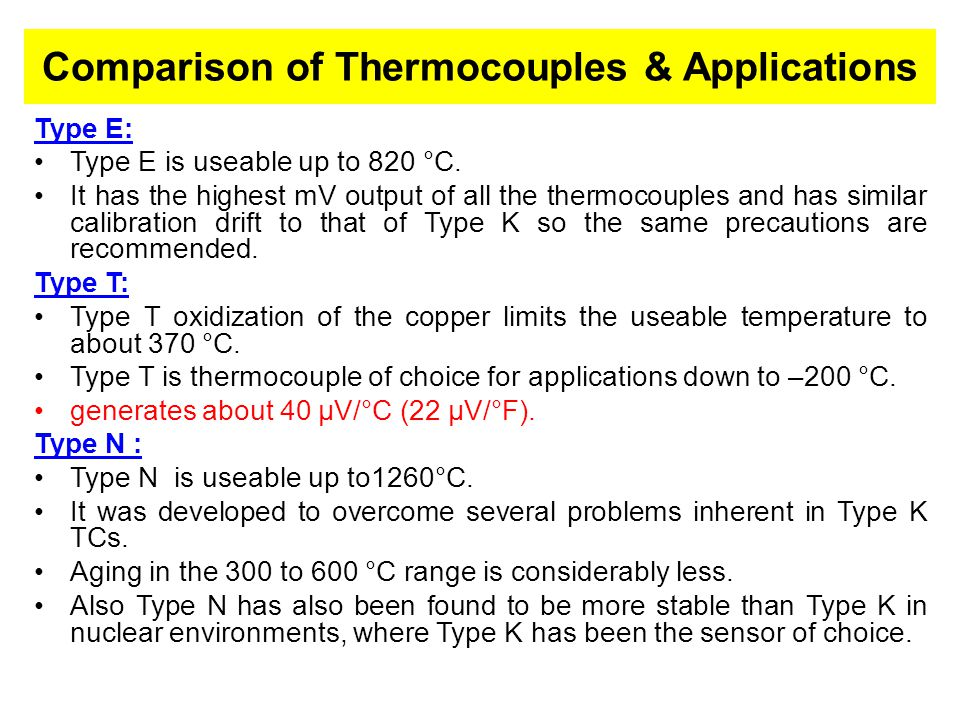 Comparison of Thermocouples & Applications
