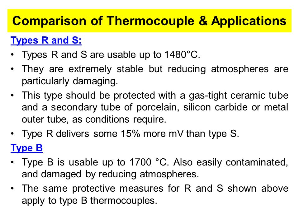 Comparison of Thermocouple & Applications