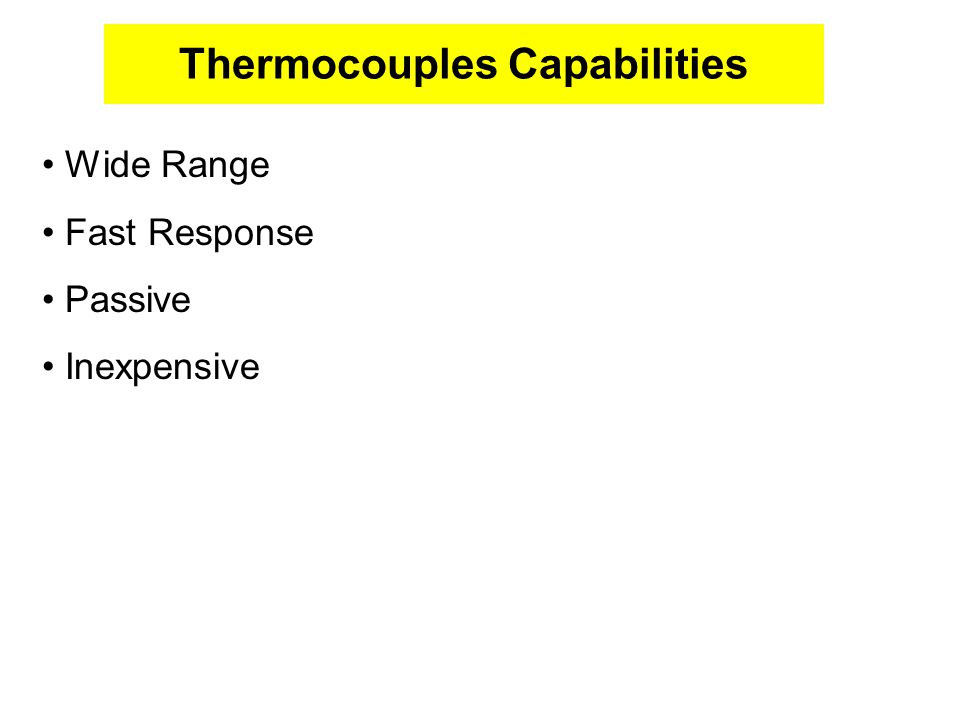 Thermocouples Capabilities