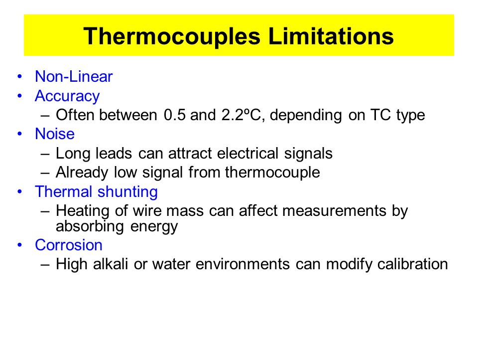 Thermocouples Limitations