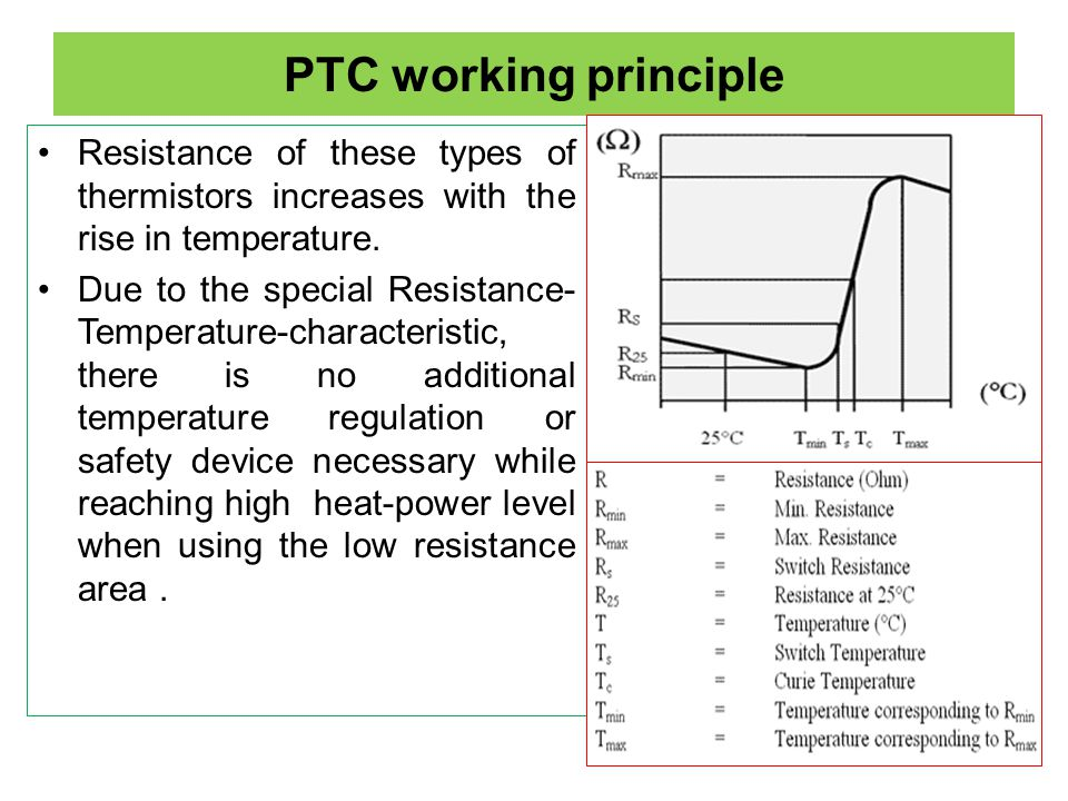 PTC working principle Resistance of these types of thermistors increases with the rise in temperature.