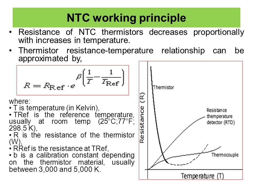 NTC working principle Resistance of NTC thermistors decreases proportionally with increases in temperature.